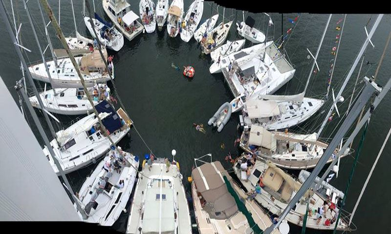 Boats in a Circle with their front ends pointing away from each other in the Fishing Bay