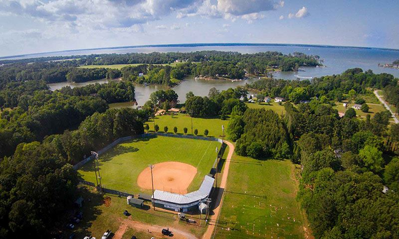 Aerial view of the baseball park in Deltaville